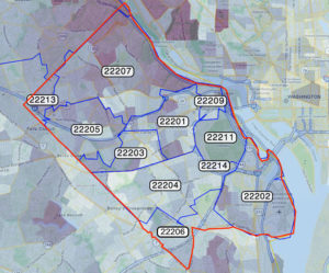 Arlington ZIP code map