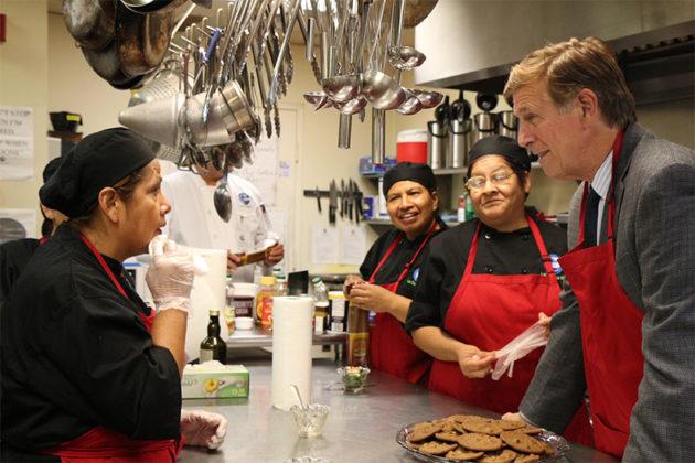 Rep. Don Beyer talks with La Cocina students.