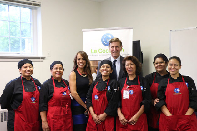 Rep. Don Beyer with La Cocina executive director and students.