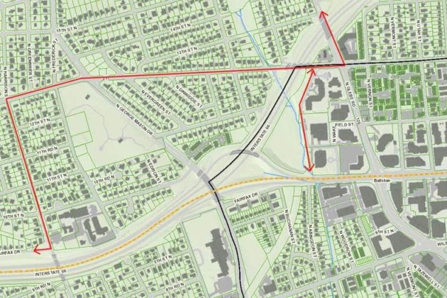 The detour routes for Custis Trail are marked in red. (Courtesy of Arlington County)