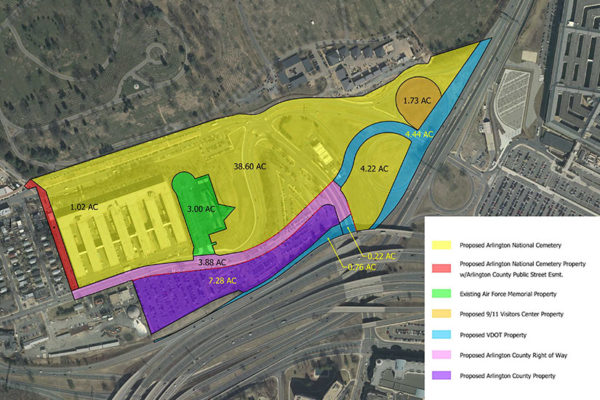 Updated map of a 2015 land swap agreement between Arlington County, VDOT and the U.S. Army