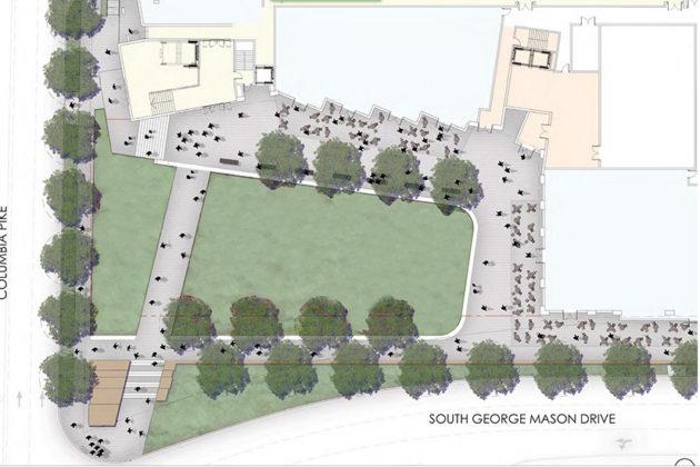 Overall design of Village Center public square (via Arlington County)