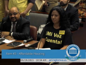 Speaker at County Board meeting on affordable housing plan