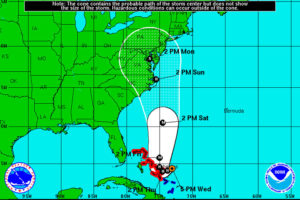 Possible path for Hurricane Joaquin (via National Weather Service)