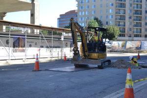 Crews installing fiber optic cables on Wilson Blvd