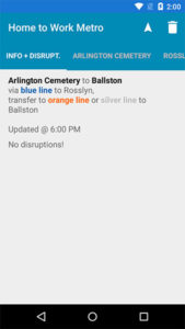 A Metro alert on RouteHero