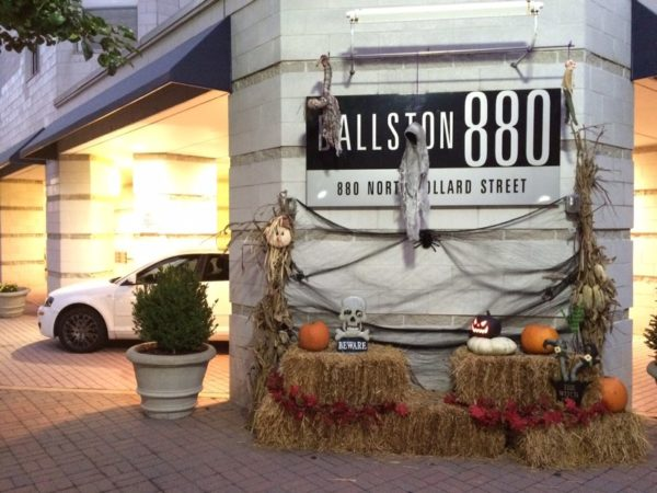 A festive Halloween display outside of a Ballston condominium building