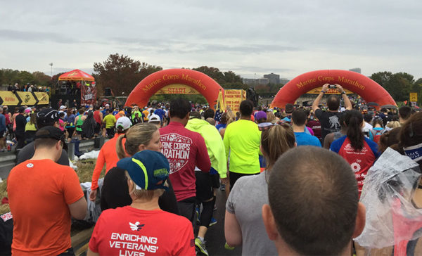 Runners get ready to start the 2015 Marine Corps Marathon (photo by Jennifer Currier)