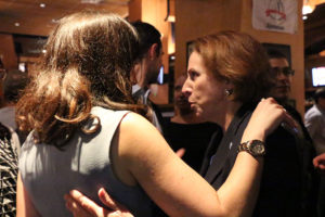 Katie Cristol with Libby Garvey at Democrats' victory party at P. Brennan's on Columbia Pike