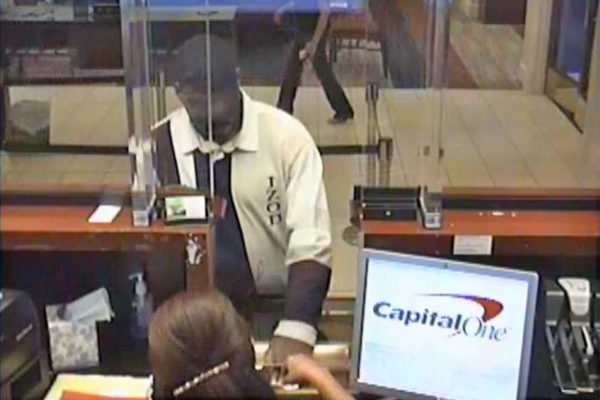 """Forever Loyal Bandit"" robbing the Capital One Bank on Columbia Pike (photo via ACPD)"