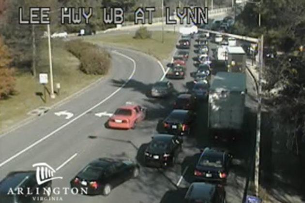 Heavy traffic on Lynn Street in Rosslyn