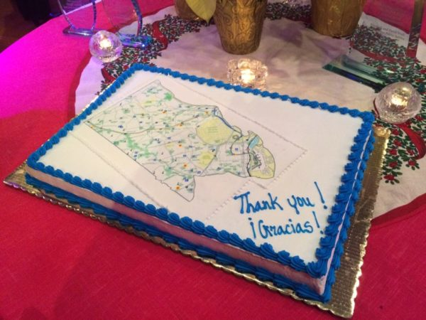 """Thank you"" cake at the goodbye party for outgoing County Board members Walter Tejada and Mary Hynes at The Salsa Room 12/17/15"