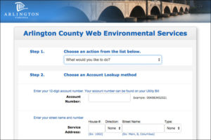 Arlington Dept. of Environmental Services web form