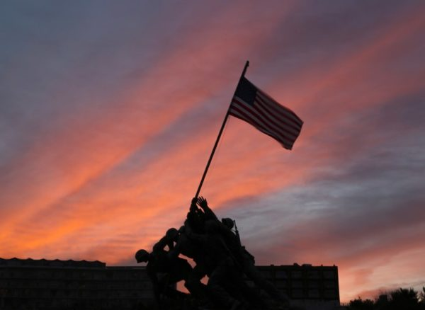 Iwo Jima memorial at sunset (Flickr pool photo by TheBeltWalk)