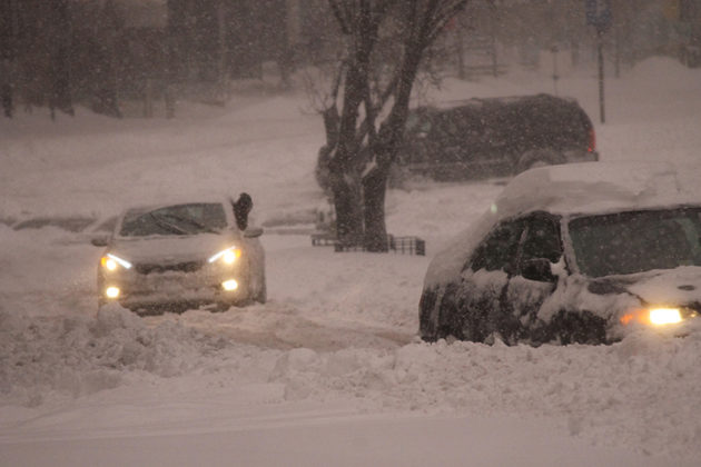 Two drivers struggled to climb a hill on Wilson Boulevard earlier this morning
