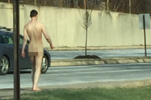 Nude man on Army Navy Drive