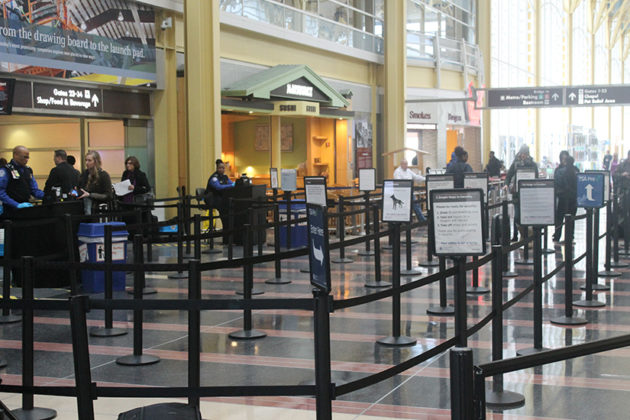 Passengers moved quickly through security lines