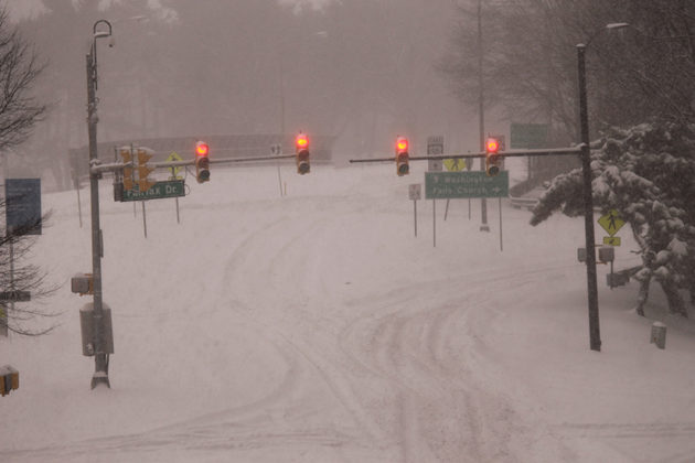 Heavy, blowing snow has made most roads across the area impassable
