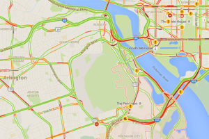Morning commute traffic map on 1/27/16