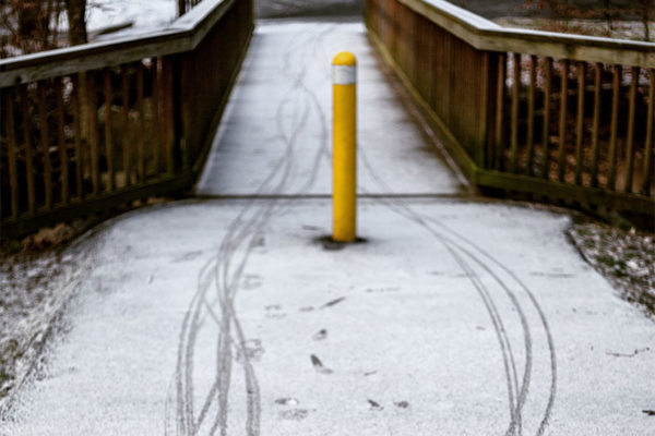 Bike tracks in the snow (Flickr pool photo by Dennis Dimick)