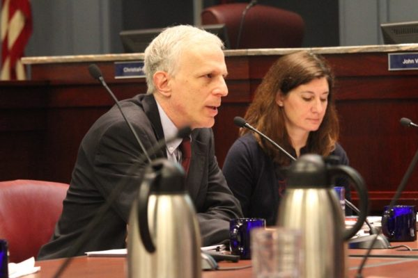 County Manager Mark Schwartz at County Board budget work session in 2016