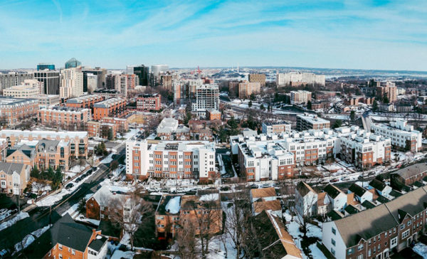 Snowy aerial of Rosslyn (Flickr pool photo by Lawrence Cheng Photography)