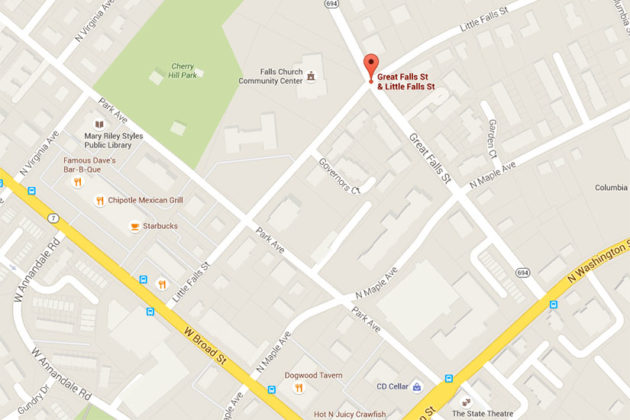 Location of overturned vehicle in Falls Church (image via Google Maps)