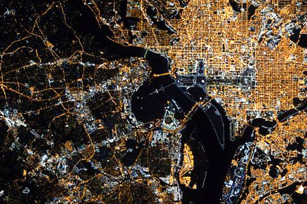 Arlington and the National Mall, as seen from space (photo via Twitter/Scott Kelly)