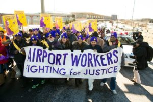 Airport workers protest in New York (photo via SEIU/Facebook)