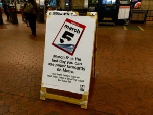 Metro paper farecard reminder sign in the Rosslyn Metro station