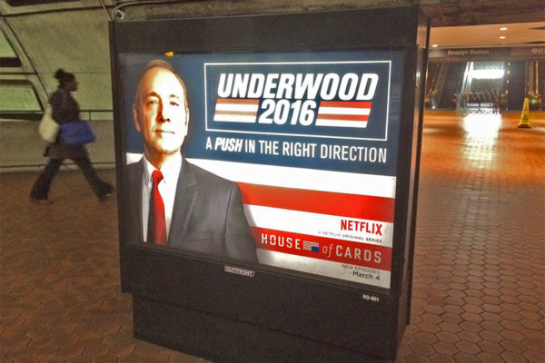 Creepy Netflix ad for House of Cards in the Rosslyn Metro station