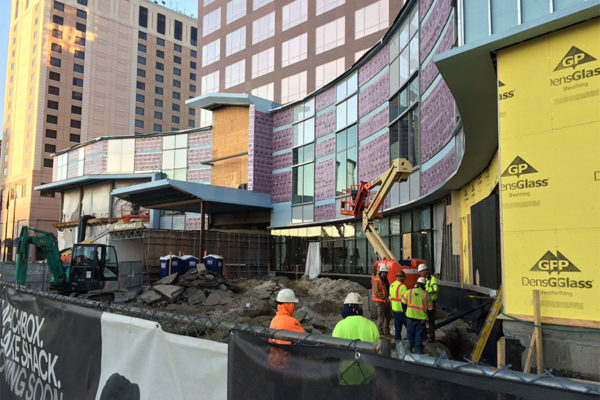 Construction in front of the Fashion Centre at Pentagon City mall