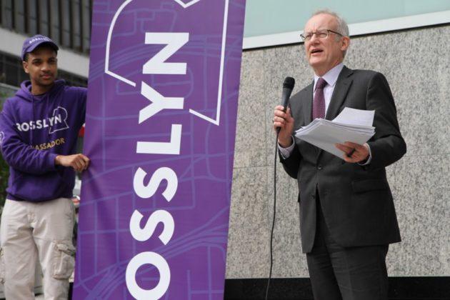County Board member John Vihstadt at Rosslyn streetscape announcement