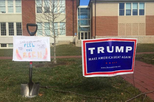 Donald Trump and Bernie Sanders signs outside the Arlington Arts Center