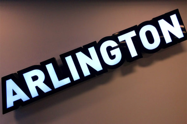 Arlington sign inside a Ballston office building