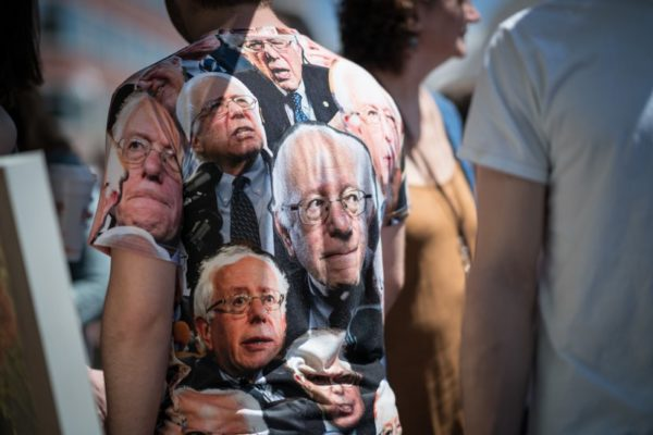 Man in Bernie Sanders shirt (photo courtesy Kevin Wolf)