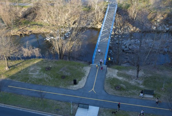 Pedestrian bridge over Four Mile Run, near Shirlington (Flickr pool photo by TheBeltWalk)