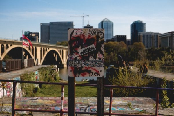 View of Rosslyn and graffiti from Georgetown (Flickr pool photo by xmeeksx)