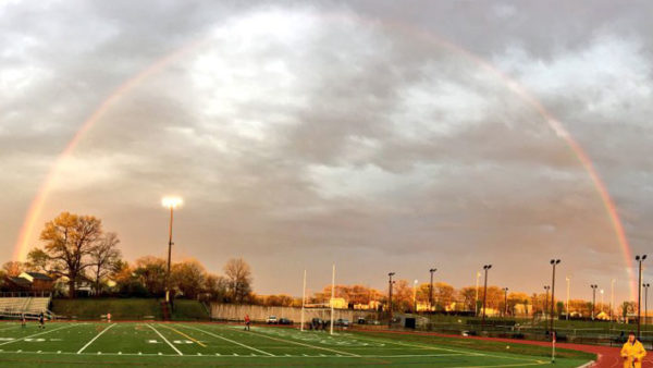 Rainbow over Wakefield High School (Photo via @WLHSIBProgram)