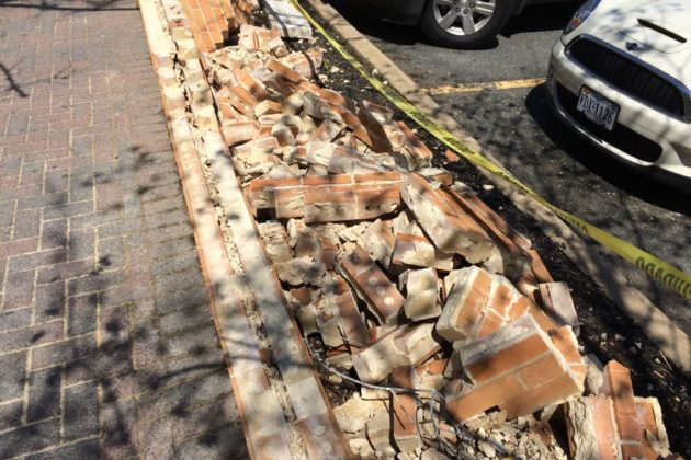 Smashed wall at the Clarendon Whole Foods