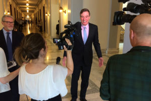 Sen. Mark Warner holds a press conference outside of his office on Capitol Hill 4/13/16