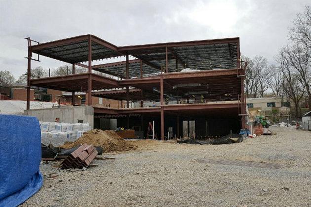 Construction in progress on three-story addition