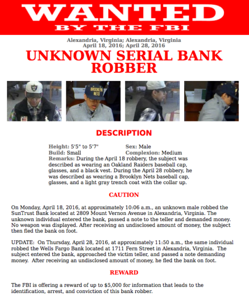 FBI bank robbery wanted poster