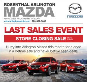Rosenthal Arlington Mazda closing sale graphic