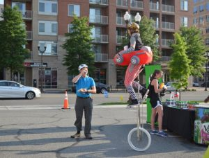 Bike to Work Day 2016 - Unicyclist at the Ballston pit stop