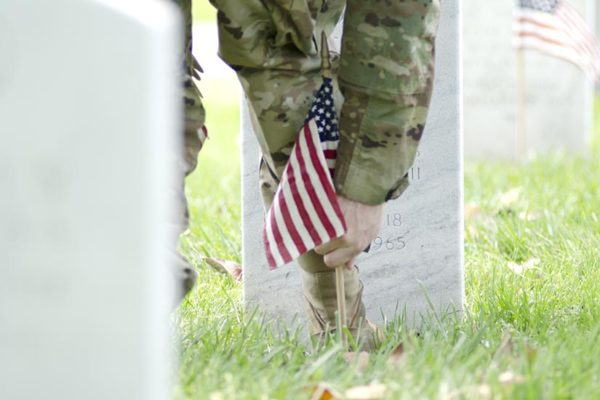 Flags In at Arlington National Cemetery, just prior to Memorial Day