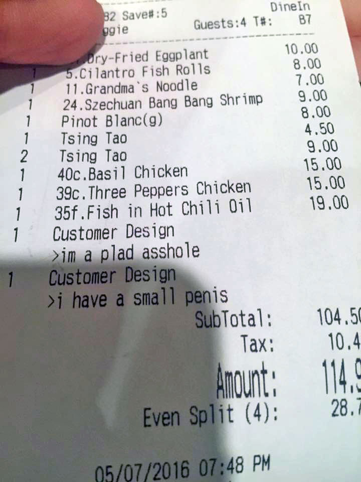 Diners Find Insults on Restaurant Receipt