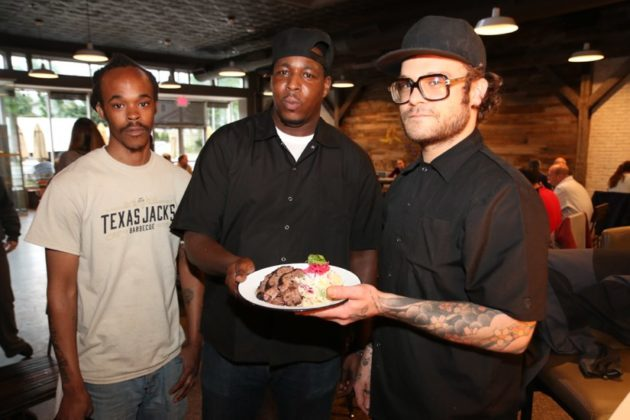 Server Daryl Muschetta and chefs Phil Saltes and Matt Lang with their Taste of Arlington dish