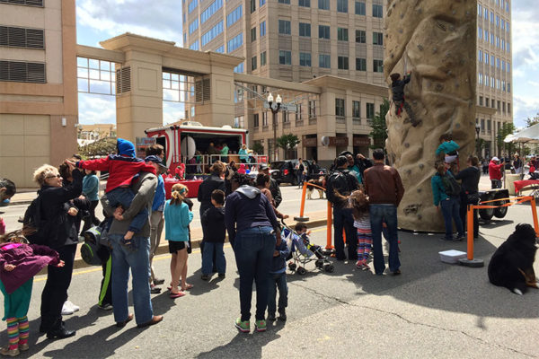 Kids climbing wall at 2016 Taste of Arlington festival