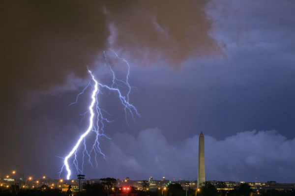 Lightning over D.C., as seen from Arlington (Flickr pool photo by Joseph Gruber)